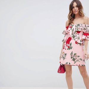 ASOS DESIGN floral ruffle off shoulder mini dress